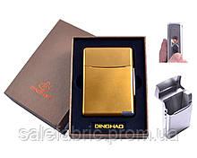 Портсигар + USB зажигалка (Под сигаретную пачку, Спираль накаливания) №4845 Gold