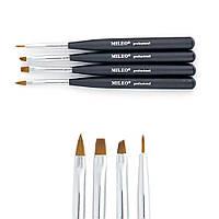 Набор кистей для моделирования и дизайна ногтей MILEO, Черный, 4шт/уп