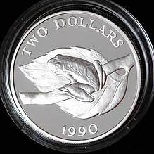 Серебряная монета Бермудских островов 2 доллара 1990 г. Лягушка. Пруф