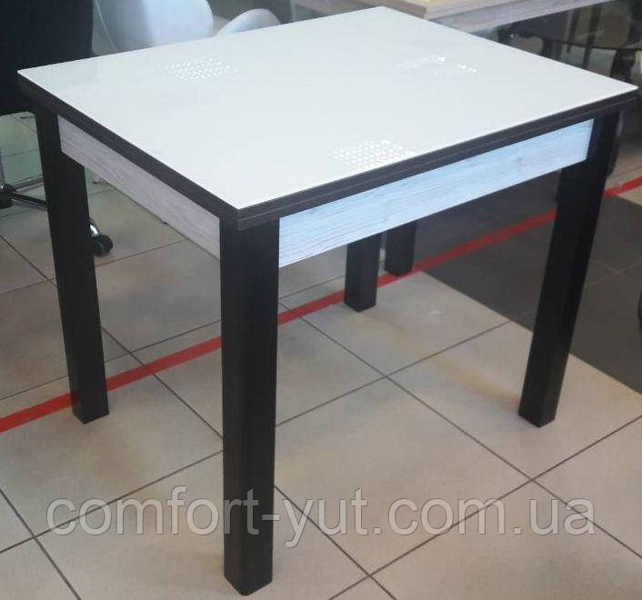 Стол кухонный раскладной обеденный МАРСЕЛЬ 90(+35+35)х70 венге - Аляска- Стекло  ультрабелое