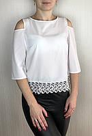 Женская белая блузка с кружевом опотом