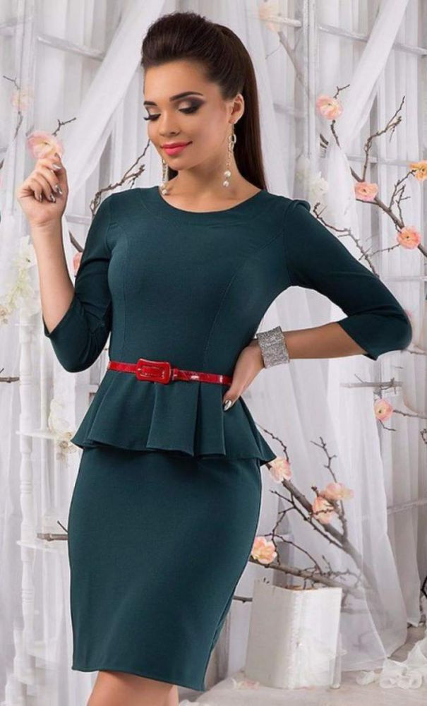 Сукня міні з баскою рукав від виробника 42 44 46 48 50 52 Р