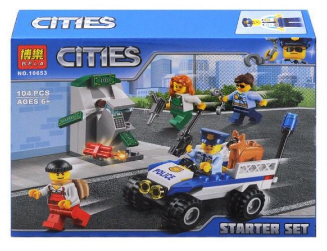 """Конструктор Bela 10653 """"Набор для начинающих Полиция"""" (аналог Lego City 60136), 104 дет"""