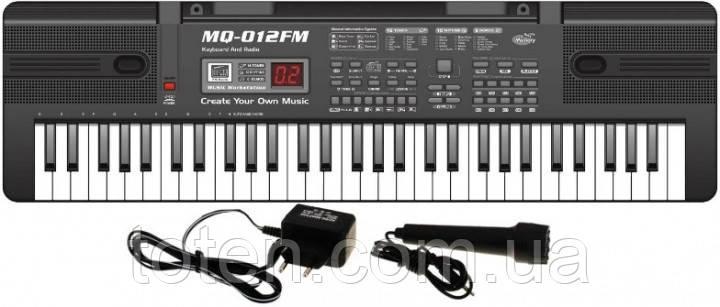Піаніно, синтезатор з радіо MQ 012 FM. Працює від мережі. Мікрофон. 61 клавіша.