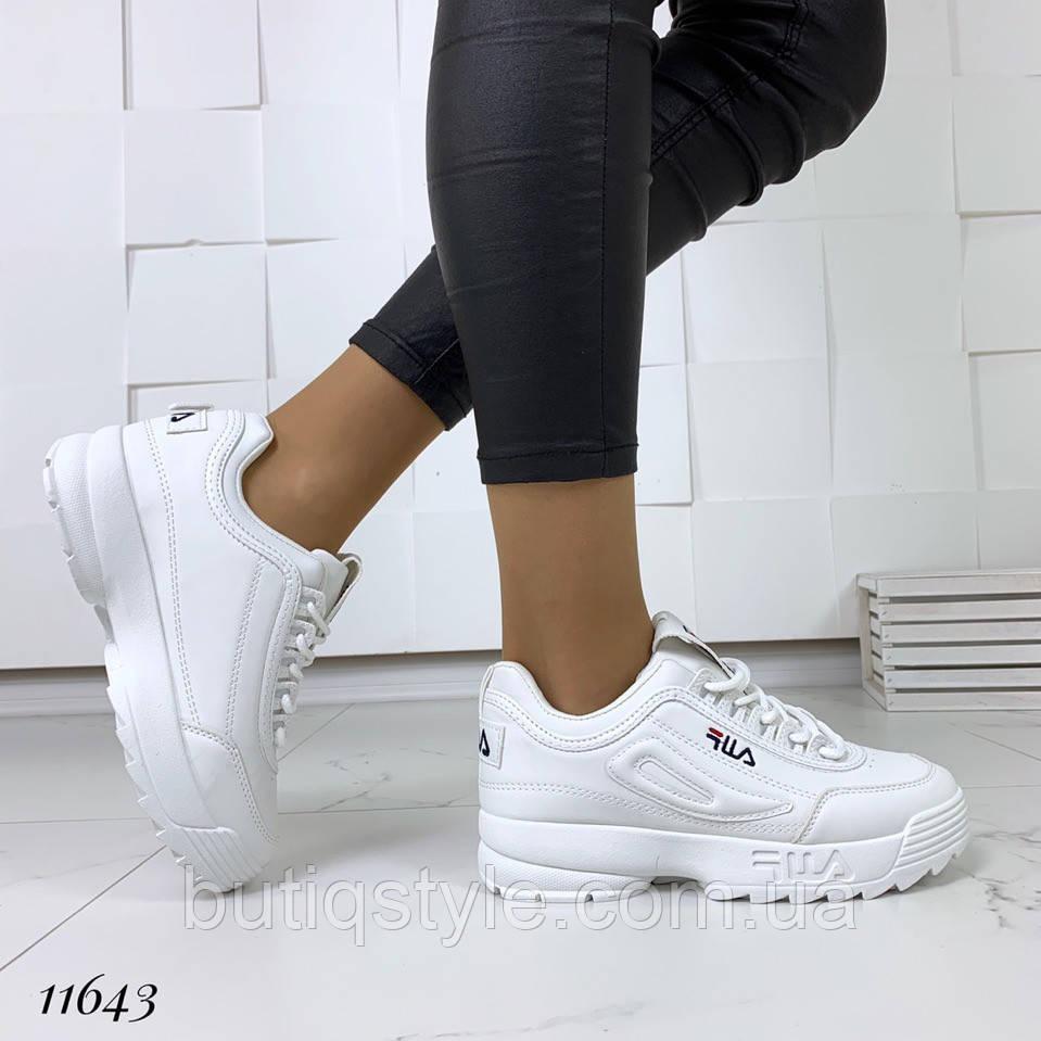 Кроссовки  белые  =FiL= женские на платформе эко-кожа