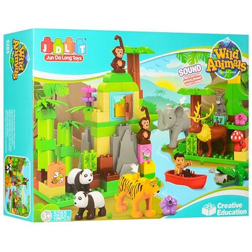 """Конструктор JDLT 5285 (аналог Lego Duplo) """"Дикие животные"""" (со звуками джунглей), 106 дет"""