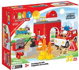 """Конструктор блочный JDLT 5151 (аналог Lego Duplo) """"Пожарная станция"""", 32 дет"""