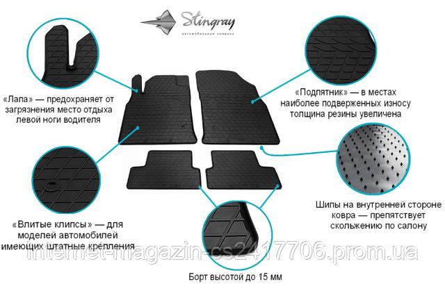 Резиновые коврики в салон LAND ROVER RANGE ROVER IV (L405) 12/RANGE ROVER Sport II 13/LAND ROVER Discovery V 17(SD2017)- Stingray (Передние) - фото 1
