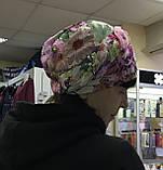Летняя сиренево-салатовая бандана-шапка-косынка-чалма, фото 2