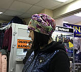 Летняя сиренево-салатовая бандана-шапка-косынка-чалма, фото 5