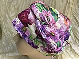 Летняя сиренево-салатовая бандана-шапка-косынка-чалма, фото 6