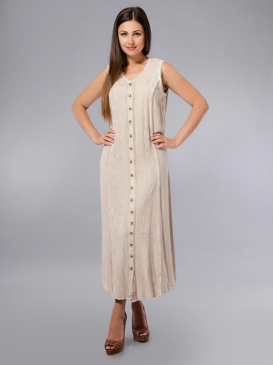 Уценка! Платье - халат, бежевое, хлопок, Индия, на 46-50 размеры, фото 1
