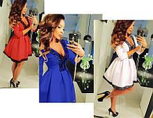 Платье женское короткое пышное с кружевом