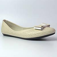 Балетки бежевые летние кожаные женская обувь большой размер Scarb V Beige Perl Perf Leather by Rosso Avangard , фото 1
