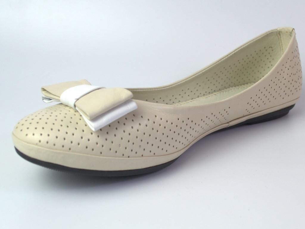 Балетки бежевые летние кожаные женская обувь большой размер Scarb V Beige Perl Perf Leather by Rosso Avangard