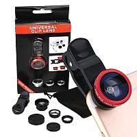 Универсальный объектив для телефона 3 в 1  (Fisheye) Красный