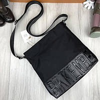bfa18812d941 Стильная мужская сумка-планшетка Bikkembergs черная кожа PU текстиль через  плечо Биккембергс люкс реплика