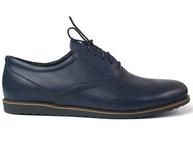 Обувь больших размеров мужская туфли синие кожаные броги Rosso Avangard Felicete Breakage Lether Blu BS