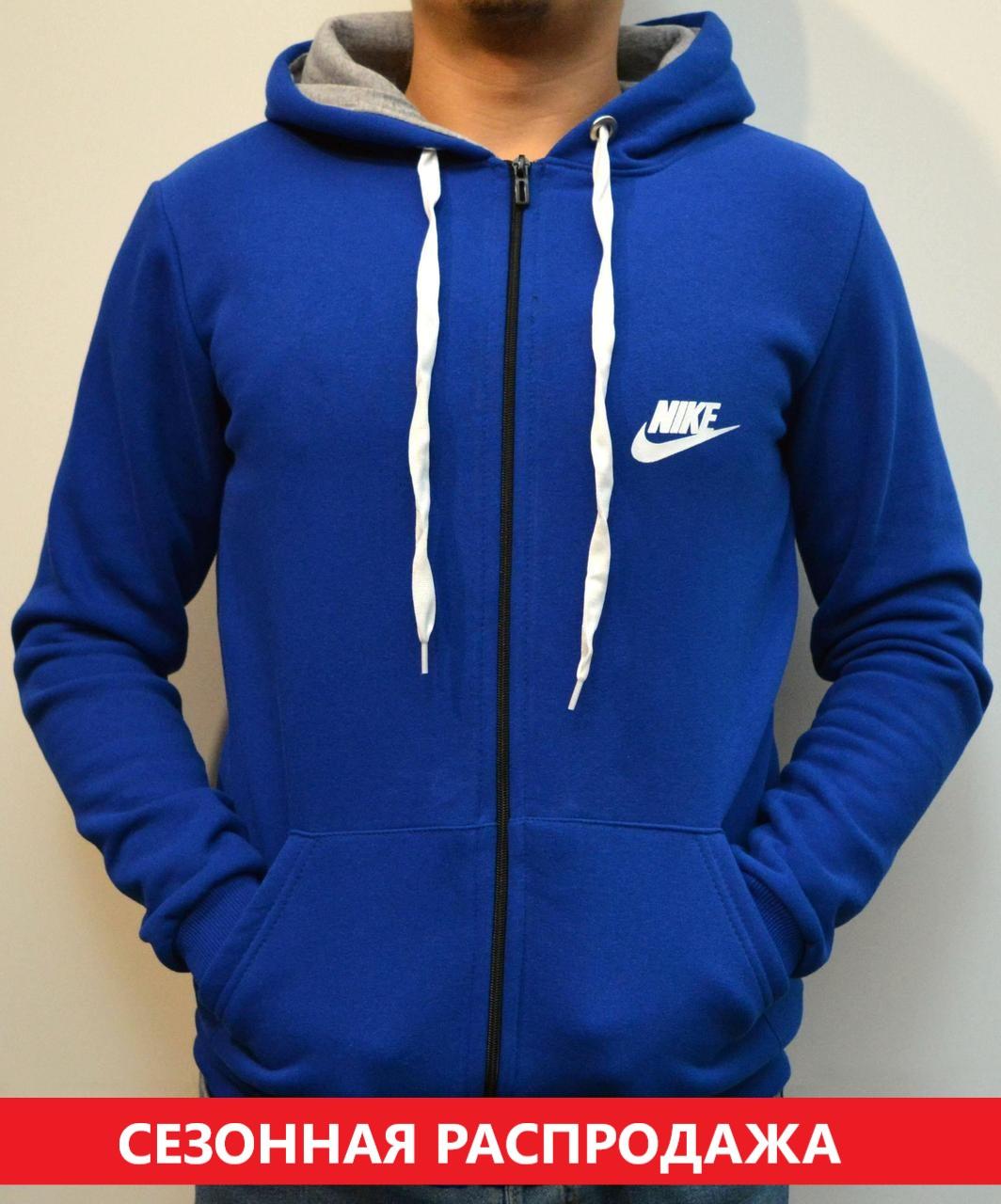 c3334378 Мужская толстовка Nike (Найк) / Утепленная спортивная кофта с капюшоном,  Трикотаж трехника - ярко-синяя