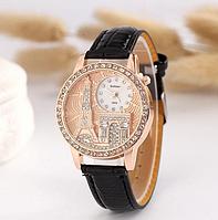 Часы наручные женские Эйфелева башня с черным ремешком код 159