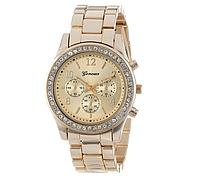 Наручные часы Женева золотистого цвета код 129