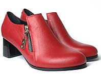 Туфлі червоні на підборах жіноче взуття великих розмірів Eterno Zip Red Lether BS by Rosso Avangard, фото 1