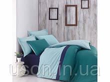 Комплект постельного белья евро размер Cotton box ранфорс Plain Sport PETROL