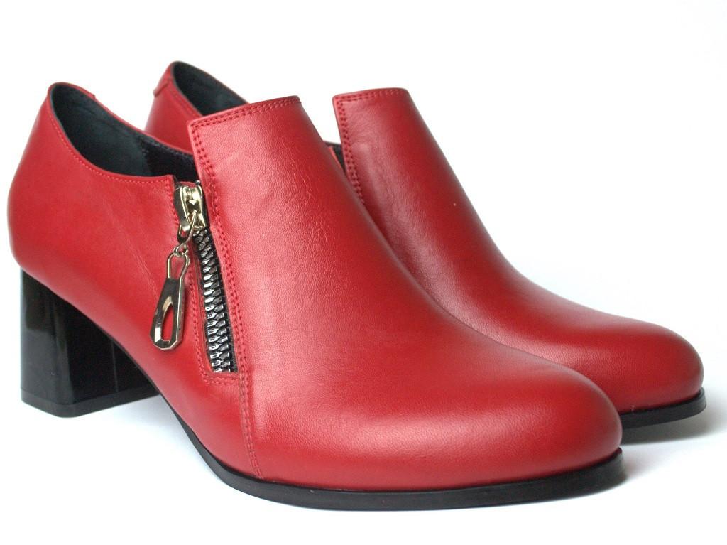 Туфли красные на каблуке женская обувь Eterno Zip Red Lether by Rosso Avangard