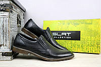 Туфли Slat 1830 (весна/осень, мужские, натуральная кожа, черный)