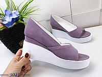 Замшевые туфли на танкетке 36-40 р лиловый, фото 1