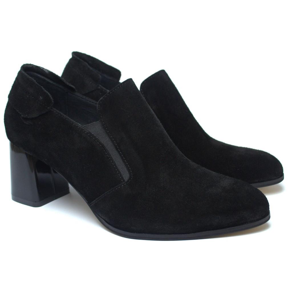 Туфли замшевые черные на каблуке женская обувь Eterno Black Vel by Rosso Avangard