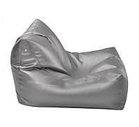 Серое бескаркасное кресло-лежак из кож зама Зевс