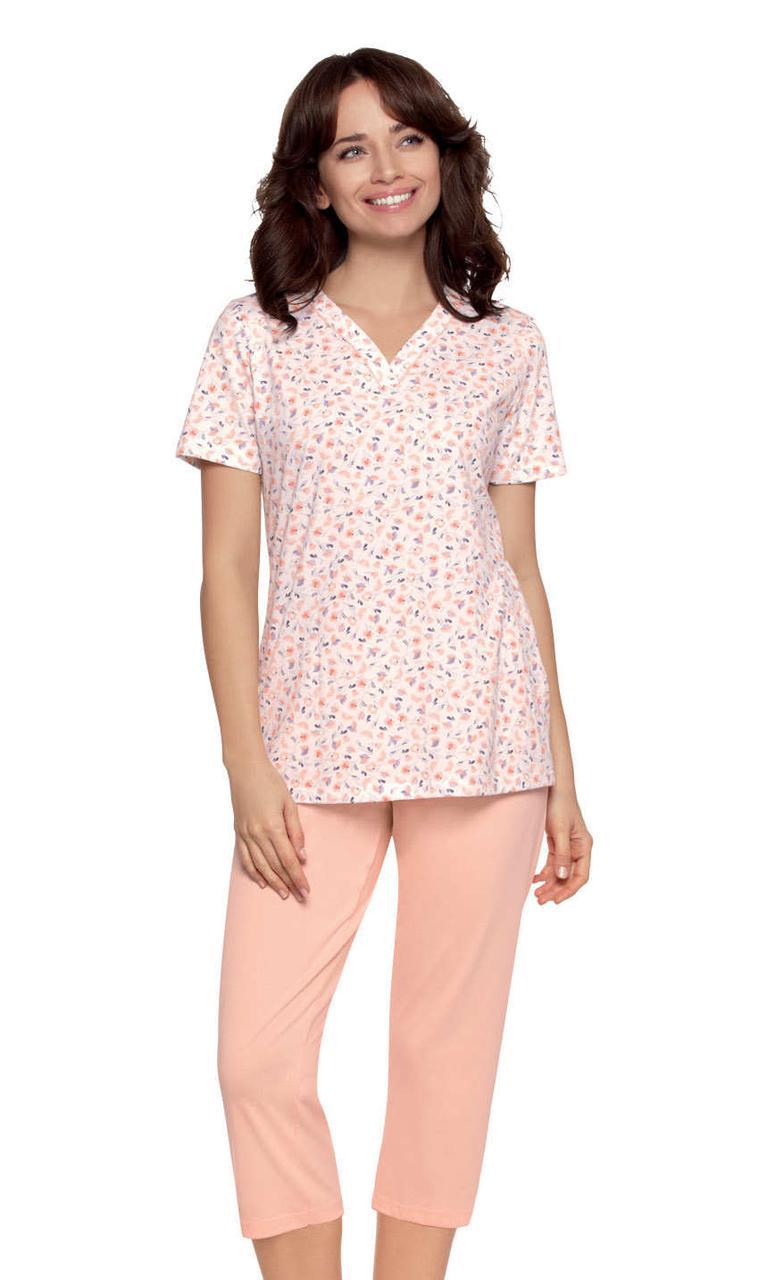 Жіночий піжамний костюм з квітковим принтом футболки Wadima 104482 L