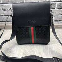 cf404705dd3c Трендовая мужская сумка планшет Gucci черная планшетка через плечо унисекс  эко-кожа Гуччи премиум реплика