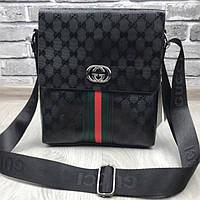 e8010cba079c Эффектная женская сумка-планшетка Gucci черная унисекс через плечо кожа PU  Гуччи качественная люкс реплика