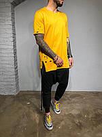 😜Мужская желтая футболка удлиненная с дырками