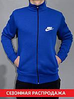 Остались размеры:44,46,48. Мужская толстовка Nike (Найк) на молнии / Трикотаж трехнитка на байке