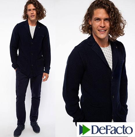 Мужской пиджак De Facto / Де Факто шерстяной, на пуговицах , с карманами
