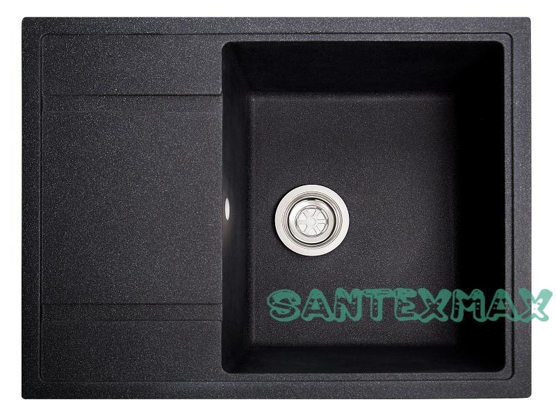 Кухонная гранитная мойка Solid Оптима черный 65x51