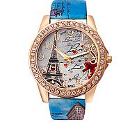 Часы женские Эйфелева башня с голубым ремешком код 262