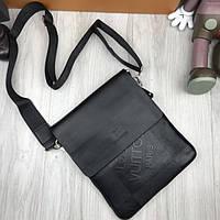 59b1d42a7237 Удобная мужская сумка-планшетка Louis Vuitton LV черная через плечо унисекс  эко кожа Луи Виттон