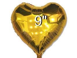 Куля фольгований Серце золото 22 см