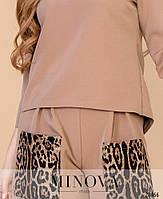Стильный костюм-двойка с леопардовыми акцентами размеры S-L, фото 3