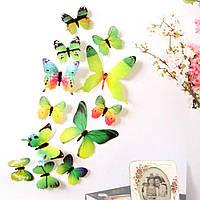 (12 шт) Набор бабочек 3D (на скотче), ЗЕЛЕНЫЕ с рисунком