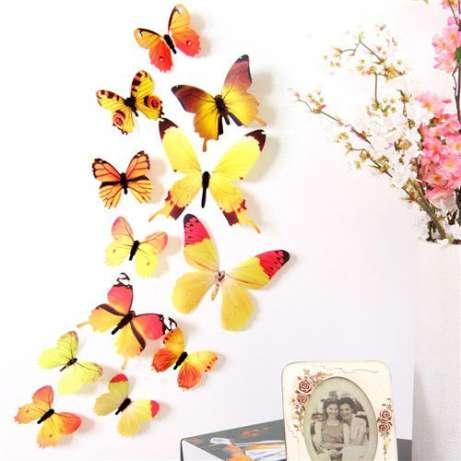 (12 шт) Набор бабочек 3D (на скотче), ЖЕЛТЫЕ с рисунком
