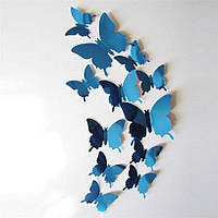 (12 шт) Набор бабочек 3D (на скотче), СИНИЕ зеркальные