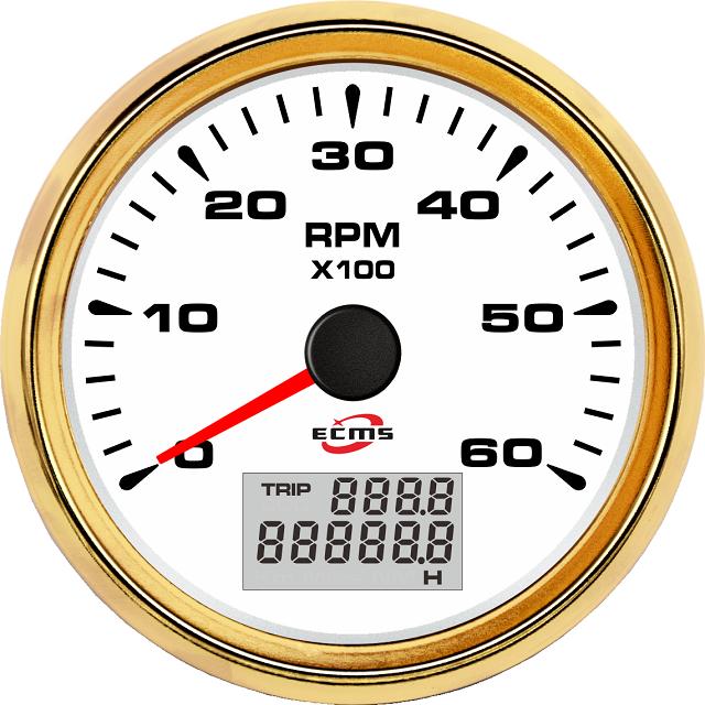 Тахометр с счетчиком моточасов ECMS HMH3-WG-6KL  85мм, белый/золото