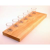 Деревянная прямоугольная доска подставка для подачи напитков на 6 рюмок