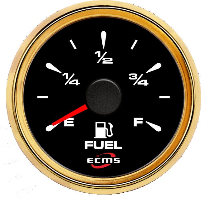 Указатель уровня топлива ECMS HMF2-BG-R, 52мм, черный/золото