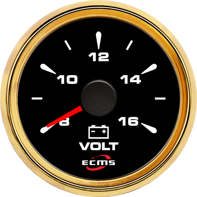 Вольтметр ECMS HMV2-BG-8-16 52мм, черный/золото